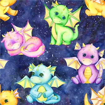 Cute little dragons, different colors, on blue space sky. watercolor seamless pattern.