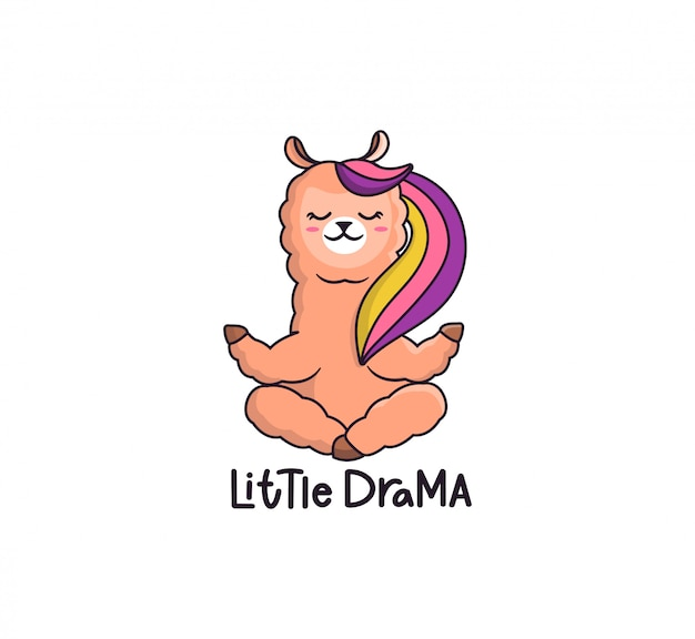 Cute little drama llama with rainbow