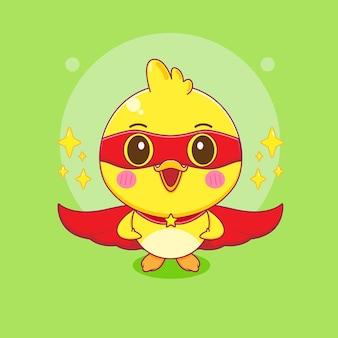 Милая маленькая утка как супергерой мультипликационный персонаж иллюстрации