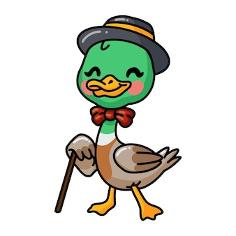 Cute little duck cartoon in hat and bow tie