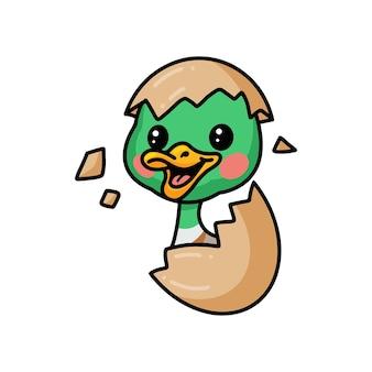 Милая маленькая утка мультяшный вылупляется из яйца