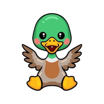 Cute little duck cartoon sitting