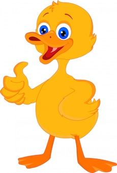 Cute little duck cartoon thumb up