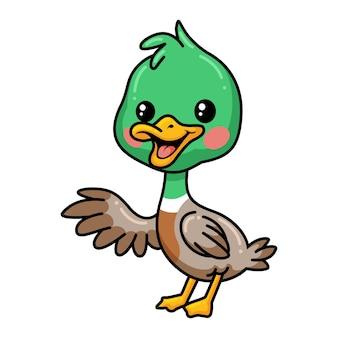 Cute little duck cartoon waving hand