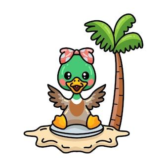 Cute little duck girl cartoon sitting on the beach