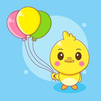 Милая маленькая утка держит воздушный шар мультипликационный персонаж иллюстрации
