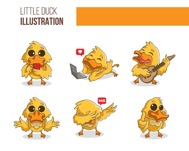 Набор иллюстраций милая маленькая утка