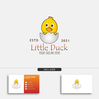 卵のベクトル図から孵化した小さなアヒルとかわいい小さなアヒルのロゴデザインコンセプト