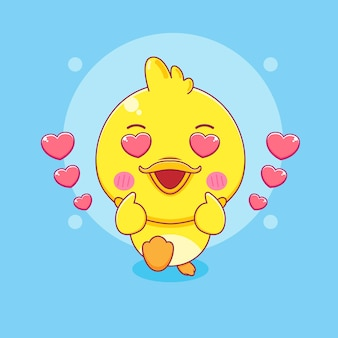 Милая маленькая утка позирует любовным пальцем иллюстрации персонажа из мультфильма