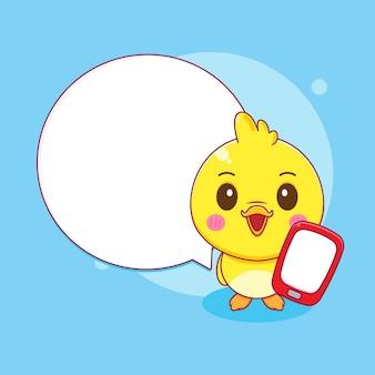 Милая маленькая утка с пузырем чат иллюстрации персонажа из мультфильма