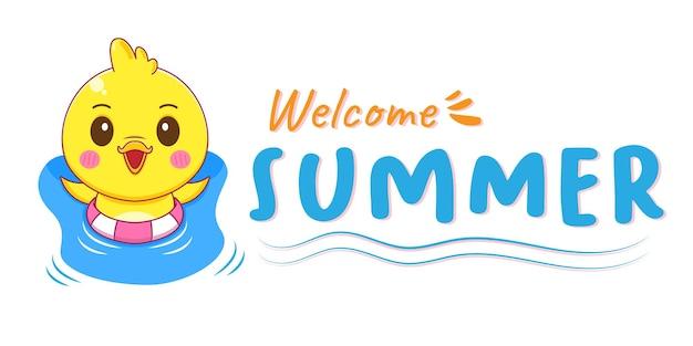 Милая маленькая утка с летним поздравительным баннером в мультяшном стиле