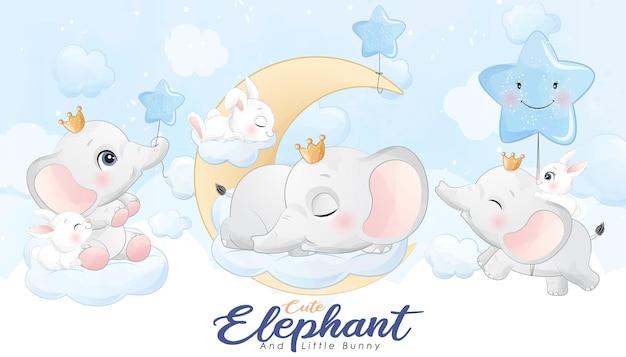 Милый маленький слоник и кролик с набором акварельных иллюстраций