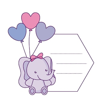 Cute little elephant baby with balloons helium in card