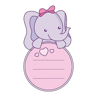 Cute little elephant baby with card