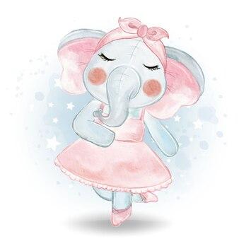 Cute little elephant ballerina watercolor illustration