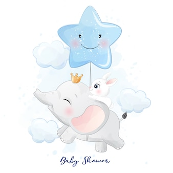 Cute little elephant and bunny flying in the sky illustration