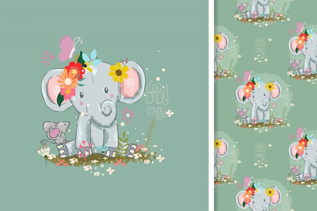 Cute little elephant card and seamless pattern