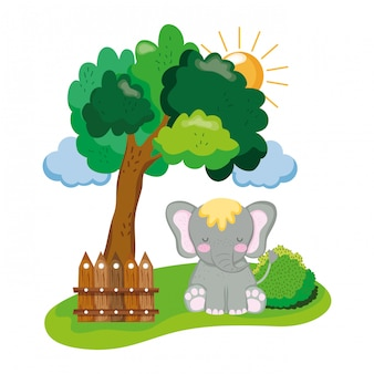 Cute and little elephant character