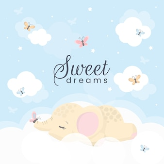 Cute little elephant on the cloud. sweet dreams illustration for kids.