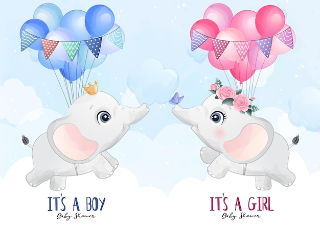 Cute little elephant flying with balloon watercolor illustration