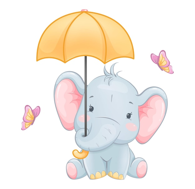 Cute little elephant holding umbrella