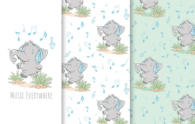 Cute little elephant illustration, card and seamless pattern.