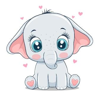 Милый маленький слон, изолированные на белом фоне. Premium векторы