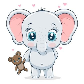 Милый маленький слон, изолированные на белом фоне.