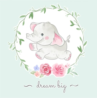 Cute little elephant jumping in floral frame illustration