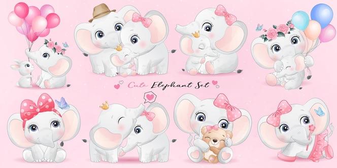 Vita di elefante sveglio con set di illustrazione dell'acquerello