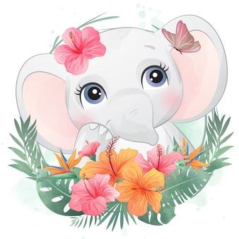 꽃과 귀여운 작은 코끼리 초상화
