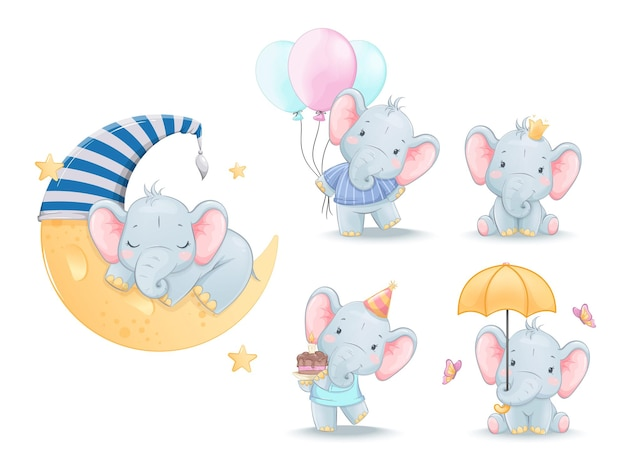 Cute little elephant set of five poses