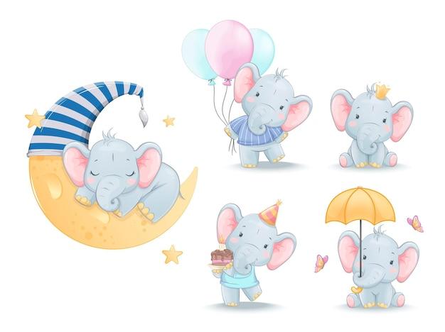 Cute little elephant set of five poses