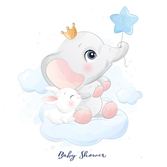 Cute little elephant sitting in the cloud with bunny illustration