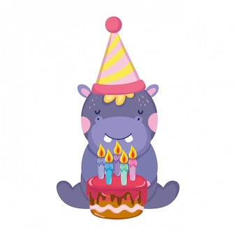 Cute and little elephant with party hat and sweet cake