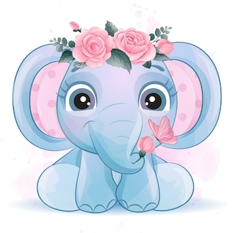 Cute little elephant with watercolor effect