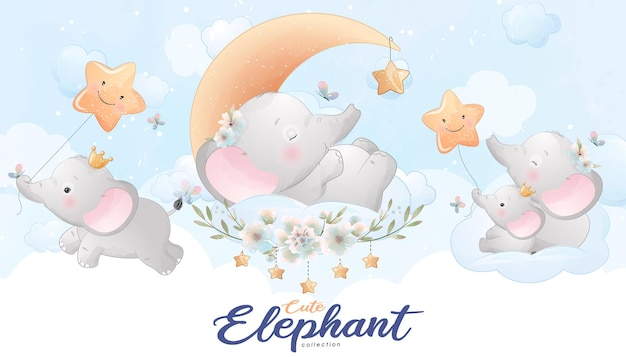 Cute little elephant with watercolor illustration set