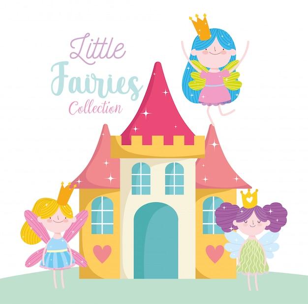 Милая маленькая фея принцесса сказка мультфильм замок фэнтези магия Premium векторы