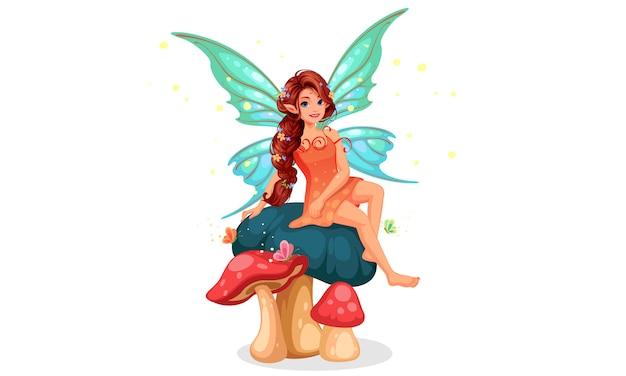 Милая маленькая фея с красивой длинной плетеной прической, сидящей на грибе