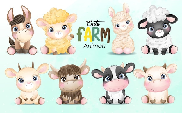 Cute little farm animal with watercolor illustration set