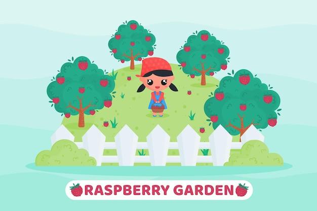Cute little farmer harvesting fruit in the raspberry garden cartoon illustration
