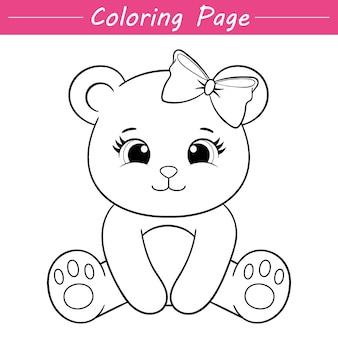 かわいい小さな女性のクマぬりえページイラスト