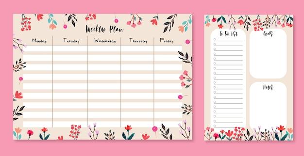 Еженедельный план и список дел с милой цветочной гуашью