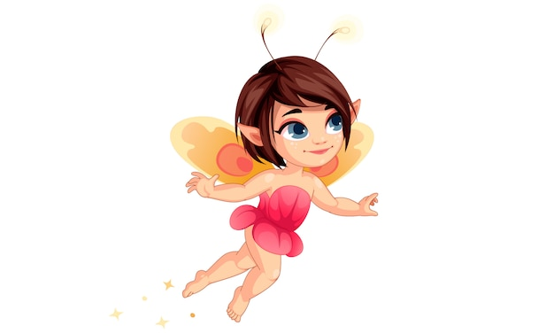 Cute little flower fairy flying