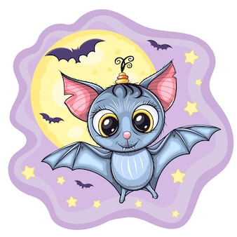 Cute little flying baby bat, with moon and stars on background