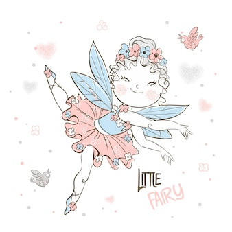 Cute little forest fairy flies with birds.