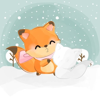 귀여운 작은 여우와 눈 여우