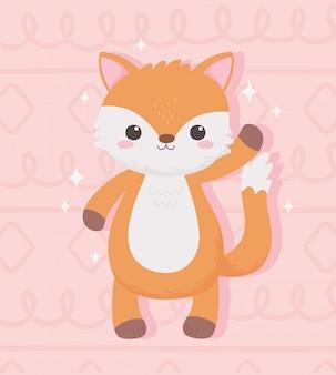 Милая маленькая лиса животное стоя мультфильм розовый дизайн векторные иллюстрации