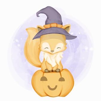 Милая маленькая лиса празднует хэллоуин