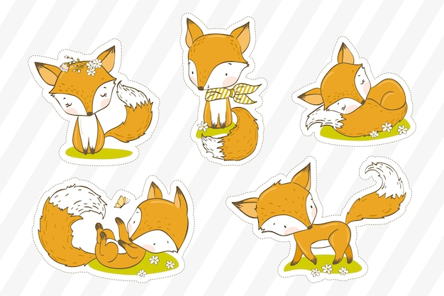 Cute little fox illustration. animal stickers collection.